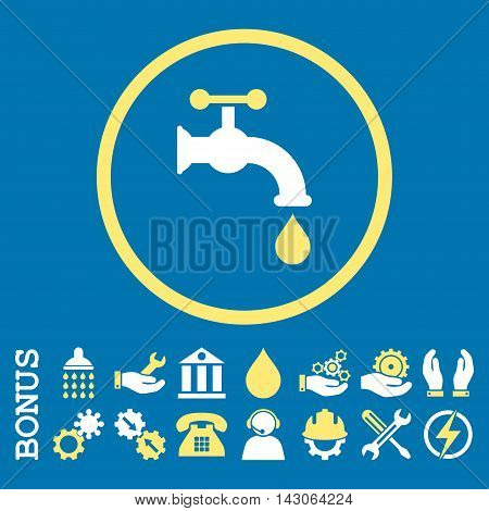 Water Tap glyph bicolor icon. Image style is a flat pictogram symbol inside a circle, yellow and white colors, blue background. Bonus images are included.