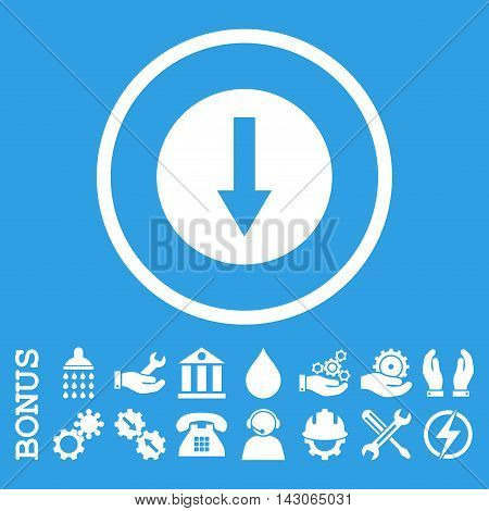 Down Rounded Arrow glyph icon. Image style is a flat pictogram symbol inside a circle, white color, blue background. Bonus images are included.