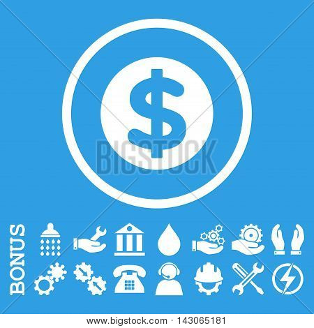 Finance glyph icon. Image style is a flat pictogram symbol inside a circle, white color, blue background. Bonus images are included.