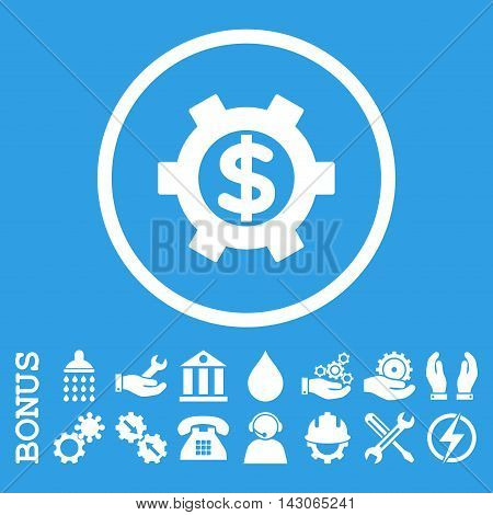 Financial Settings glyph icon. Image style is a flat pictogram symbol inside a circle, white color, blue background. Bonus images are included.