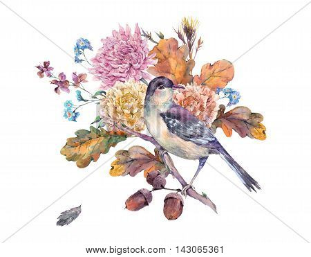 Vintage watercolor bird with autumn bouquet of twigs, cotton flower, yellow oak leaves, chrysanthemum and acorns. Botanical floral illustrations. Greeting card Isolated on white background