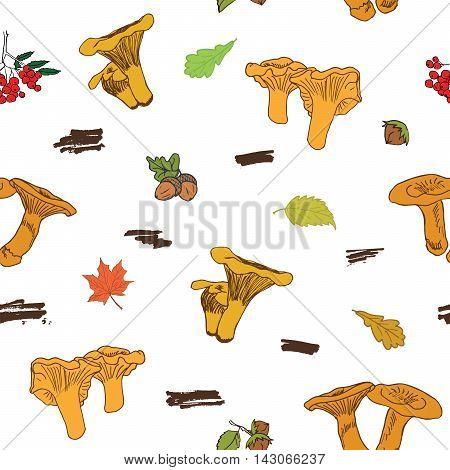 Mushroom Hand Drawn Sketch Seamless Pattern. Vector Illustration.