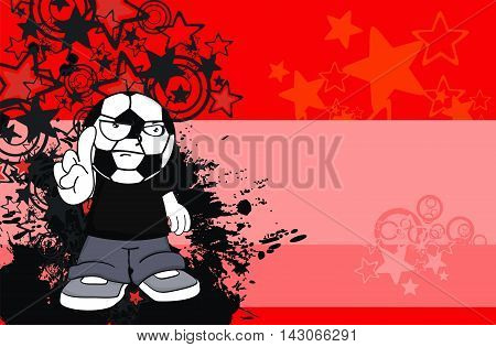 angry kid soccer head cartoon expression in vector format very easy to edit