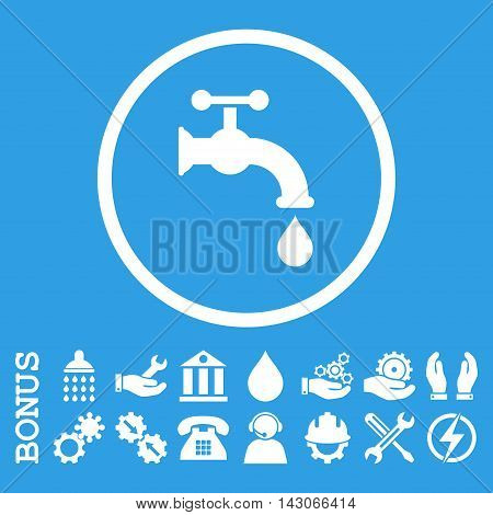 Water Tap glyph icon. Image style is a flat pictogram symbol inside a circle, white color, blue background. Bonus images are included.