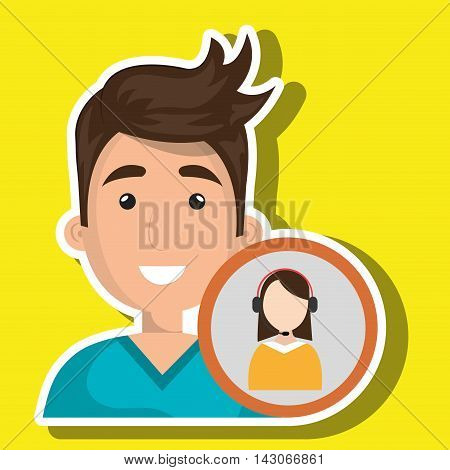 man call center attention vector illustration graphic