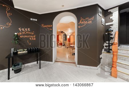 MOSCOW - JULY 2014: Interior of the hookah and anticafe