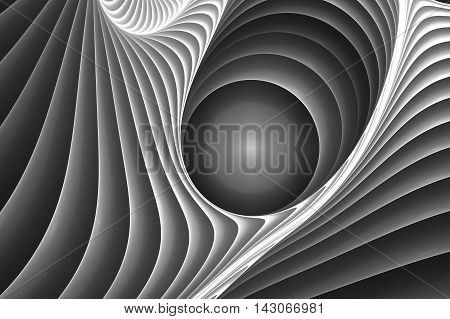 Abstract grey circle movement fractal on white background