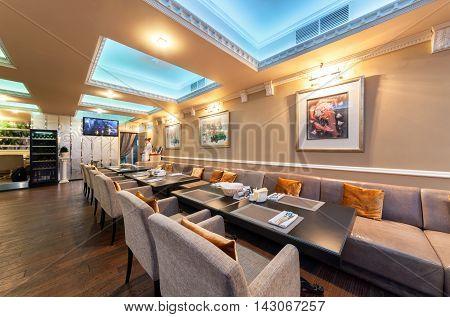 MOSCOW - JULY 2014: Interior of stylish Mediterranean cuisine Italian restaurant -