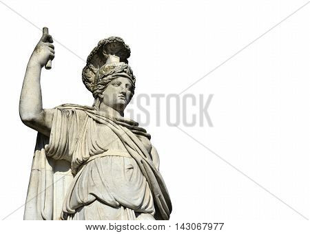Neoclassical marble statue of Minerva as Goddess Roma in Piazza del Popolo square in Rome isolated