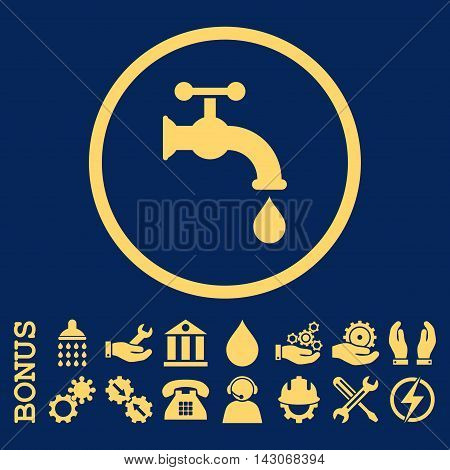 Water Tap glyph icon. Image style is a flat pictogram symbol inside a circle, yellow color, blue background. Bonus images are included.