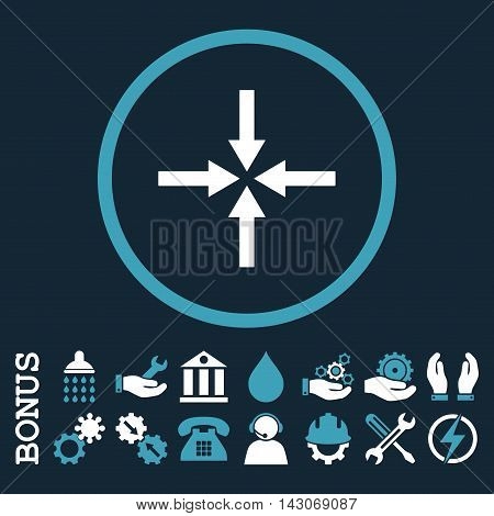 Impact Arrows glyph bicolor icon. Image style is a flat pictogram symbol inside a circle, blue and white colors, dark blue background. Bonus images are included.