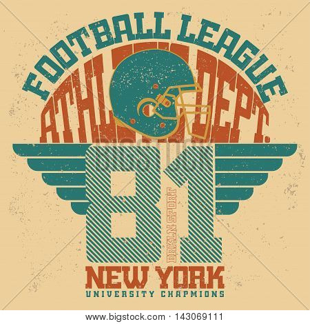 Sport Typography stamp, American Football T-shirt graphics, Print for sportswear apparel. vector