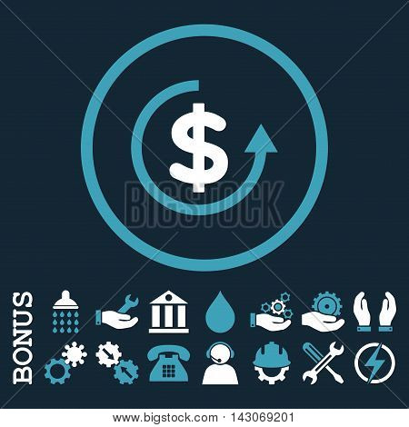 Refund glyph bicolor icon. Image style is a flat pictogram symbol inside a circle, blue and white colors, dark blue background. Bonus images are included.