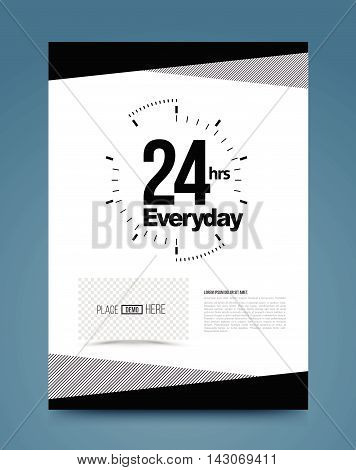 24hr emergency concept template black and white style. Vector illustration. For printing poster brochure.