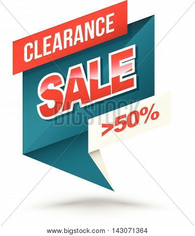 Origami banner clearance sale 50 percent. Vector illustration.