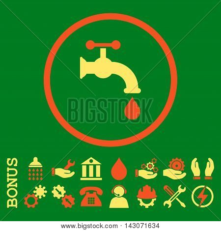 Water Tap glyph bicolor icon. Image style is a flat pictogram symbol inside a circle, orange and yellow colors, green background. Bonus images are included.