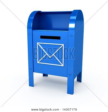 Metal Color Mailbox Over White Background