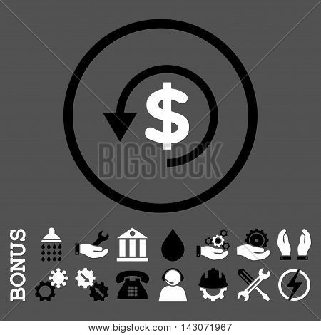 Chargeback glyph bicolor icon. Image style is a flat pictogram symbol inside a circle, black and white colors, gray background. Bonus images are included.