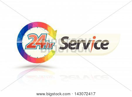 24hr Service with circle arrow. Vector illustration.