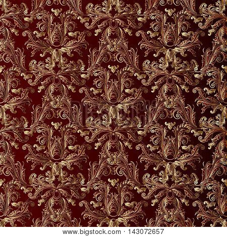 Dark vinous damask baroque vector vintage seamless pattern background with elegant oriental  volumetric gold ornaments. Luxury element for design in Eastern style.Ornate 3d decor with shadow and highlights.