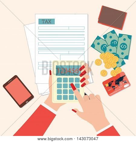 Top view of woman hands holding calculator to calculation tax form. Modern concept for web banners websites Creative flat design vector illustration.