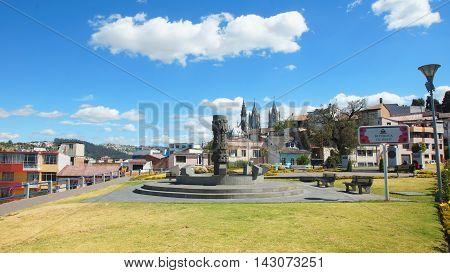 Quito, Pichincha / Ecuador - August 16 2016: View of Republica de Haiti Park in the city of Quito with Basilica del Voto Nacional in background