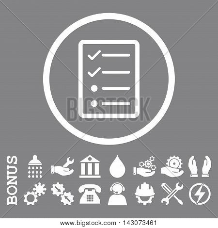 Checklist Page glyph icon. Image style is a flat pictogram symbol inside a circle, white color, gray background. Bonus images are included.