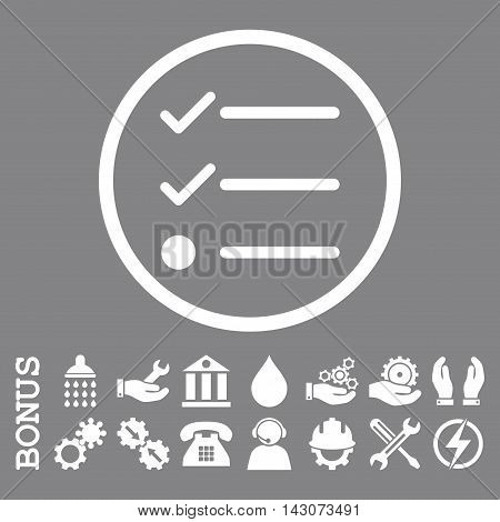 Checklist glyph icon. Image style is a flat pictogram symbol inside a circle, white color, gray background. Bonus images are included.