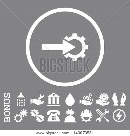 Cog Integration glyph icon. Image style is a flat pictogram symbol inside a circle, white color, gray background. Bonus images are included.