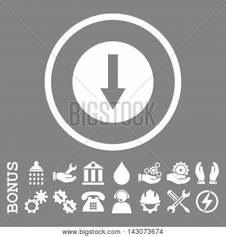 Down Rounded Arrow glyph icon. Image style is a flat pictogram symbol inside a circle, white color, gray background. Bonus images are included.
