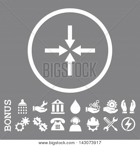 Impact Arrows glyph icon. Image style is a flat pictogram symbol inside a circle, white color, gray background. Bonus images are included.