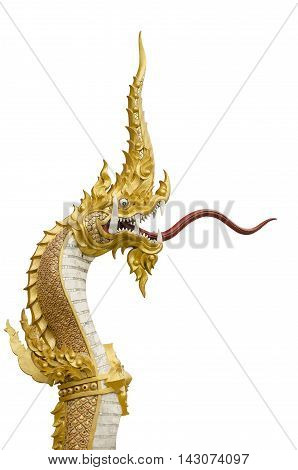 Naga statue in the temple of the Northeast of Thailand on a white background with paths.