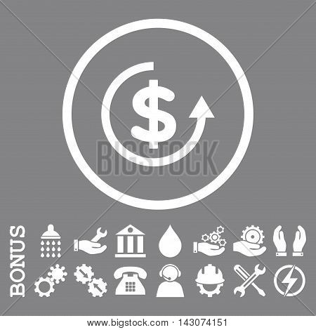 Refund glyph icon. Image style is a flat pictogram symbol inside a circle, white color, gray background. Bonus images are included.