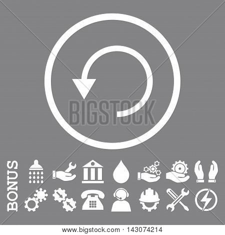 Rotate Ccw glyph icon. Image style is a flat pictogram symbol inside a circle, white color, gray background. Bonus images are included.