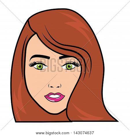 woman female comic pop art vector illustration design