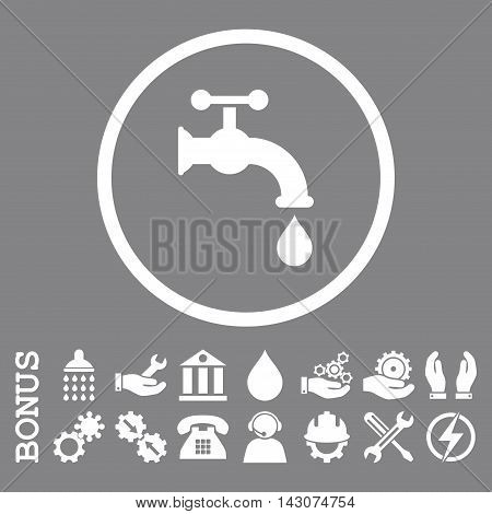 Water Tap glyph icon. Image style is a flat pictogram symbol inside a circle, white color, gray background. Bonus images are included.