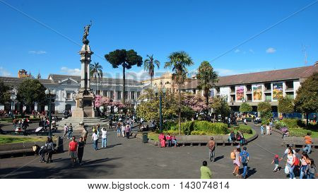 Quito, Pichincha / Ecuador - August 16 2016: Activity in Independence Square in the historic center of the city of Quito. The historic center was declared by UNESCO the first Cultural Heritage on 1978