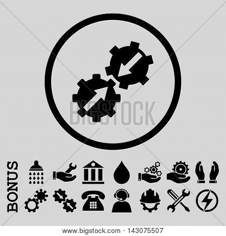 Gear Integration glyph icon. Image style is a flat pictogram symbol inside a circle, black color, light gray background. Bonus images are included.