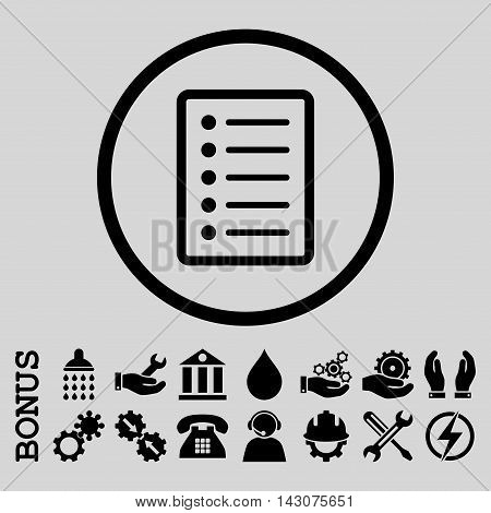 List Page glyph icon. Image style is a flat pictogram symbol inside a circle, black color, light gray background. Bonus images are included.
