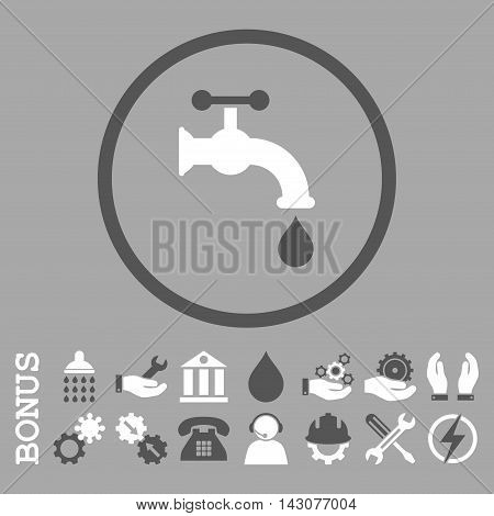 Water Tap glyph bicolor icon. Image style is a flat pictogram symbol inside a circle, dark gray and white colors, silver background. Bonus images are included.