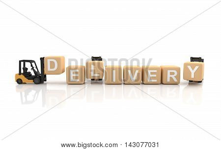 Delivery concept, Forklift with a box on white background. 3D Illustration