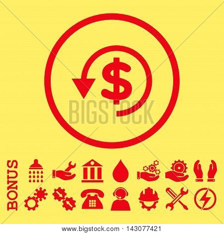 Chargeback glyph icon. Image style is a flat pictogram symbol inside a circle, red color, yellow background. Bonus images are included.