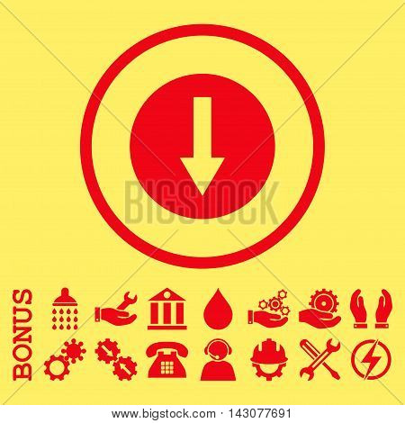 Down Rounded Arrow glyph icon. Image style is a flat pictogram symbol inside a circle, red color, yellow background. Bonus images are included.