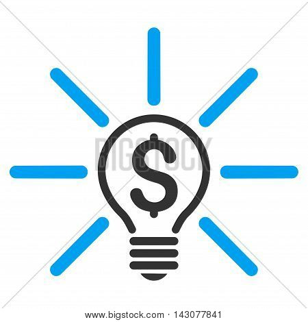 Business Idea Bulb icon. Glyph style is bicolor flat iconic symbol with rounded angles, blue and gray colors, white background.