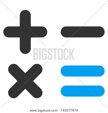 Calculator icon. Glyph style is bicolor flat iconic symbol with rounded angles, blue and gray colors, white background.