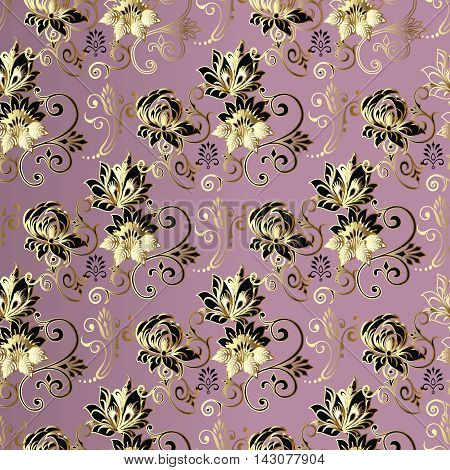Lilac light purple pink floral modern vector seamless pattern background with vintage beautiful flowers and ornaments. Stylish luxury illustration and 3d decor elements with shadow and highlights. Endless elegant  texture.