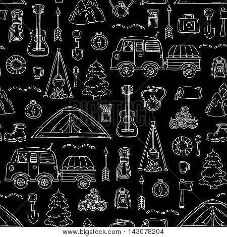 Vector seamless pattern with hand drawn isolated symbols of tourism on black color. Pattern on the theme of travel. Background for use in design, packing, textile, fabrics