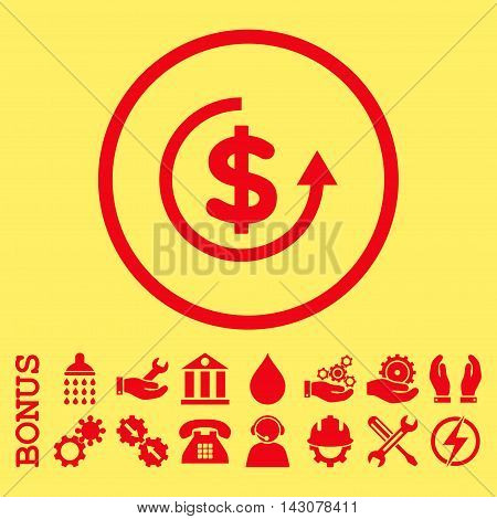 Refund glyph icon. Image style is a flat pictogram symbol inside a circle, red color, yellow background. Bonus images are included.