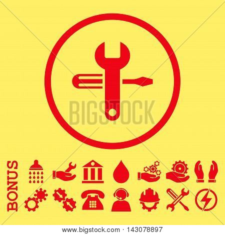 Tuning glyph icon. Image style is a flat pictogram symbol inside a circle, red color, yellow background. Bonus images are included.