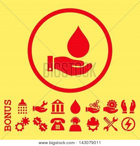 Water Service glyph icon. Image style is a flat pictogram symbol inside a circle, red color, yellow background. Bonus images are included.